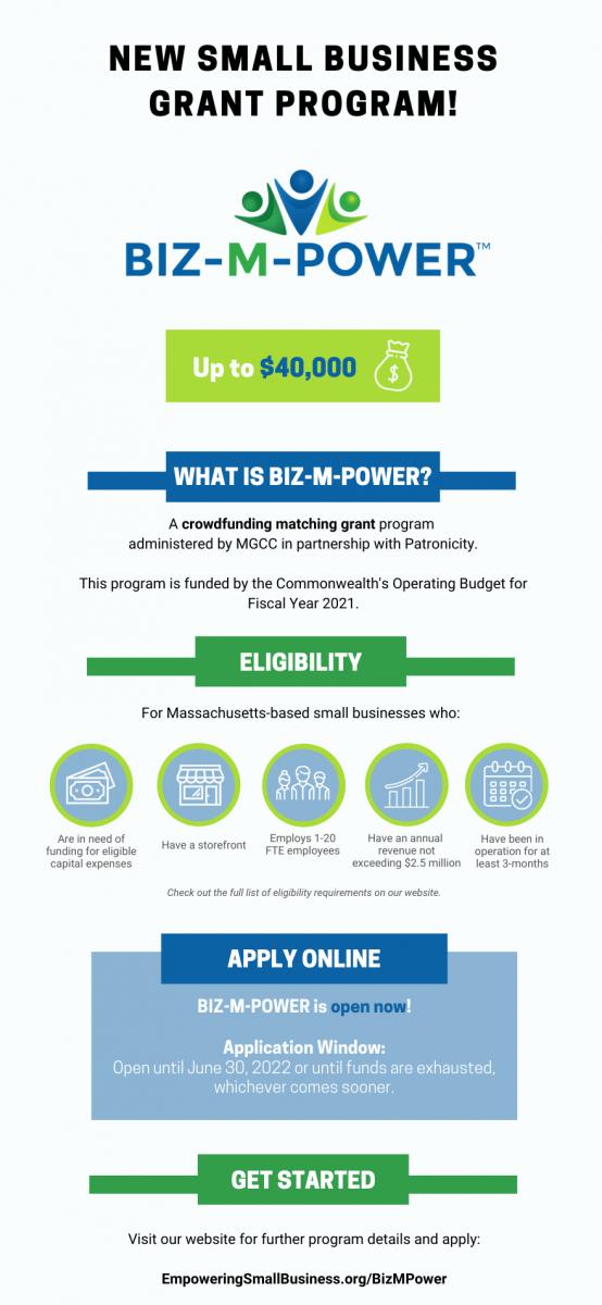 Biz M Power Small Business Grant Flyer