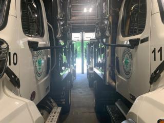 Trucks in garage